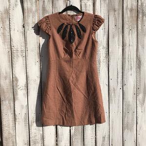 Ruby Belle Embellished Wool-Blend Pencil Dress-